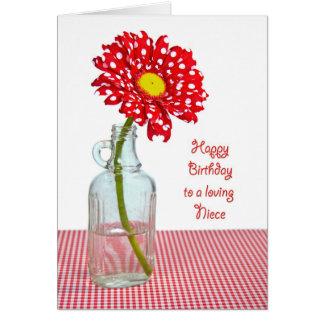 Niece's Birthday Polka Dot Daisy Card