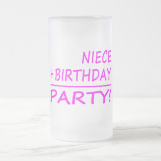 Nieces Birthdays : Niece + Birthday = Party Glass Beer Mugs