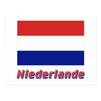 Niederlande Flagge mit Namen Postcard