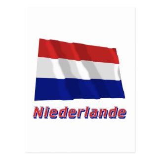 Niederlande Fliegende Flagge mit Namen Postcard
