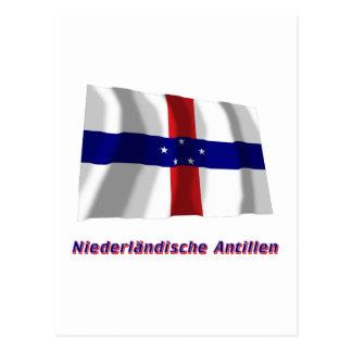 Niederländische Antillen Fliegende Flagge mit Name Postcard