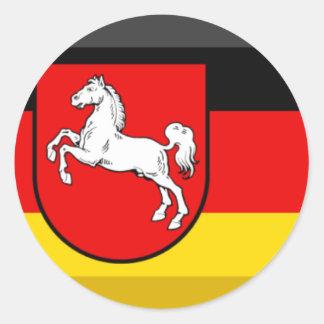 Niedersachsen Flag Gem Round Stickers