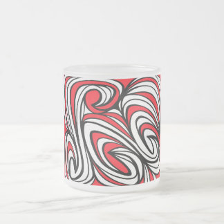 Niemants Abstract Expression Red White Black 10 Oz Frosted Glass Coffee Mug
