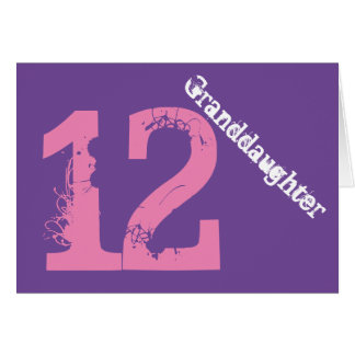 Nieta, 12mo cumpleaños, blanco, rosa, púrpura