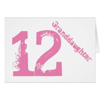Nieta, 12mo cumpleaños, blanco y rosa tarjeta de felicitación