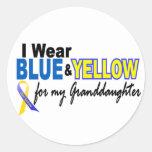 Nieta azul y amarilla 2 del desgaste de Síndrome d Etiquetas Redondas