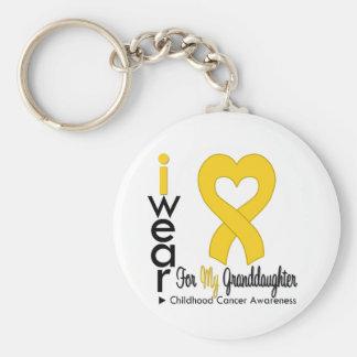 Nieta de la cinta del corazón del oro del cáncer d llavero redondo tipo pin