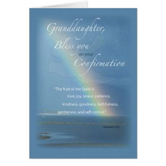 Nieta, enhorabuena del arco iris de la tarjeta de felicitación