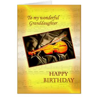 Nieta, una tarjeta de cumpleaños con un violín
