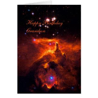 Nieto del feliz cumpleaños - cúmulo de estrellas tarjeta de felicitación
