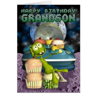Nieto del feliz cumpleaños, fuera de este mundo, tarjeta de felicitación