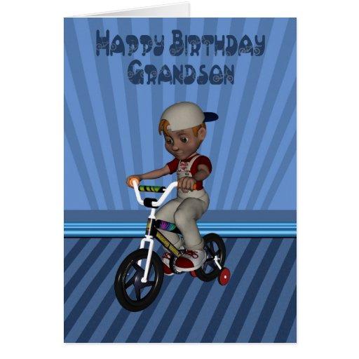 Nieto del feliz cumpleaños, muchacho en una tarjeta de felicitación