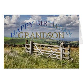 Nieto del feliz cumpleaños, paisaje con una puerta tarjeta de felicitación