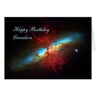 Nieto del feliz cumpleaños - una galaxia de tarjeta de felicitación