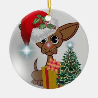 """Nieto - es del """"ornamento navidad del perro adorno redondo de cerámica"""