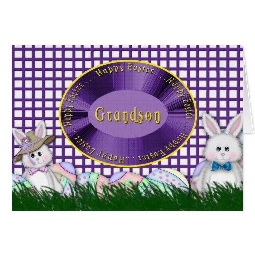 Nieto feliz de Pascua - conejitos y huevos Tarjetas