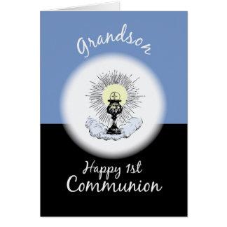 Nieto, primera comunión en azul tarjeta de felicitación