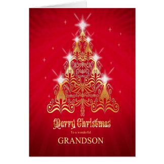 Nieto, tarjeta de Navidad estilizada del árbol de