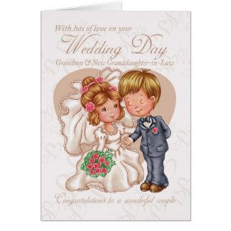 Nieto y nuevo día de boda de la Nieta-en-Ley Ca Tarjeta De Felicitación