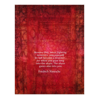 Nietzsche abyss quote personalized letterhead