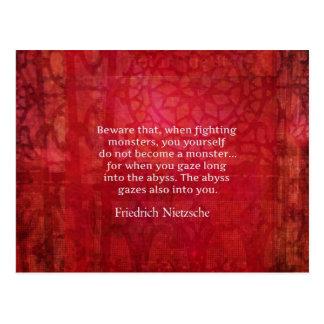 Nietzsche abyss quote postcard