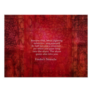 Nietzsche abyss quote poster
