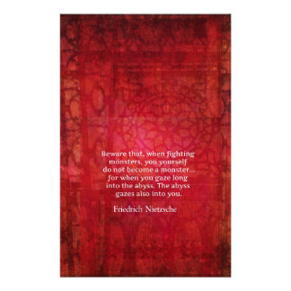 Nietzsche abyss quote stationery design