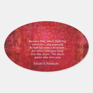 Nietzsche abyss quote oval sticker