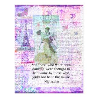 Nietzsche dancing and music quote letterhead template