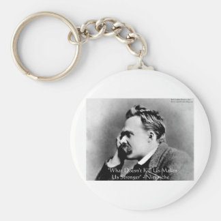 "Nietzsche ""Doesn't Kill U"" Quote Gifts & Tees Basic Round Button Keychain"