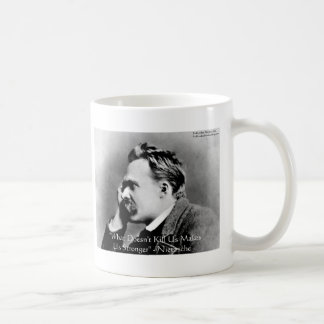 "Nietzsche ""Doesn't Kill U"" Quote Gifts & Tees Classic White Coffee Mug"