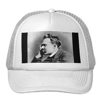 "Nietzsche ""Doesn't Kill U"" Quote Gifts & Tees Trucker Hat"