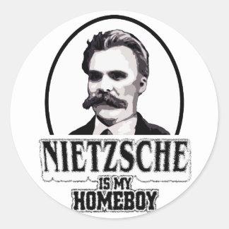 Nietzsche es mi Homeboy Pegatina Redonda