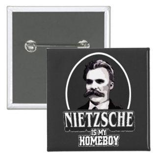 Nietzsche es mi Homeboy Pin Cuadrada 5 Cm
