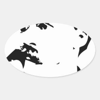 Nietzsche Face Oval Sticker