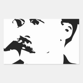 Nietzsche hace frente pegatina rectangular