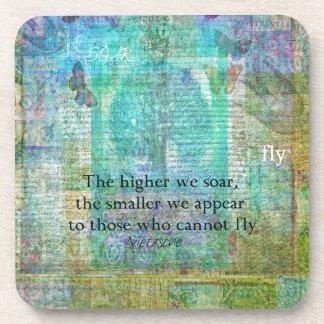 Nietzsche inspirational SOAR quote Drink Coaster
