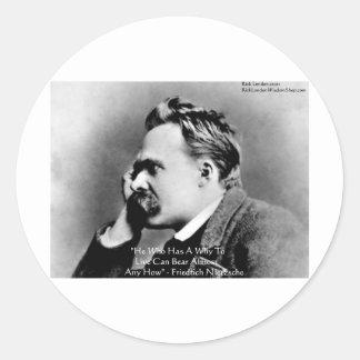 """Nietzsche """"porqué"""" regalos y tarjetas de la cita pegatina redonda"""
