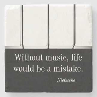 Nietzsche quote music coaster piano keys