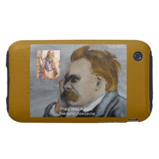 Nietzsche y Platón Platón está agujereando la Fu Tough iPhone 3 Cárcasa