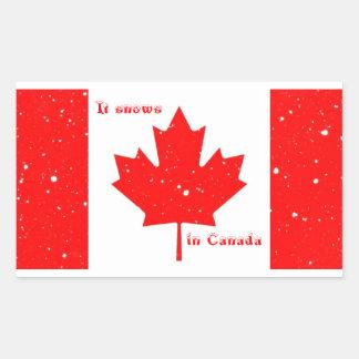 Nieva en los pegatinas de Canadá Rectangular Pegatinas