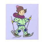 Nieve 2 de esquí del chica bloc de papel