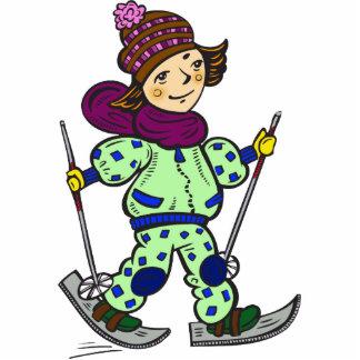 Nieve 2 de esquí del chica escultura fotografica