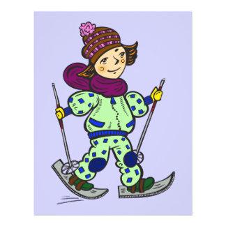 """Nieve 2 de esquí del chica folleto 8.5"""" x 11"""""""