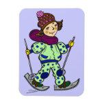 Nieve 2 de esquí del chica imán de vinilo