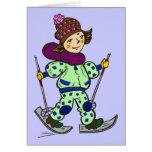 Nieve 2 de esquí del chica tarjeta