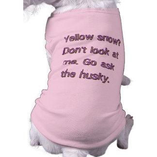 ¿Nieve amarilla? Go pide el perro esquimal Playera Sin Mangas Para Perro