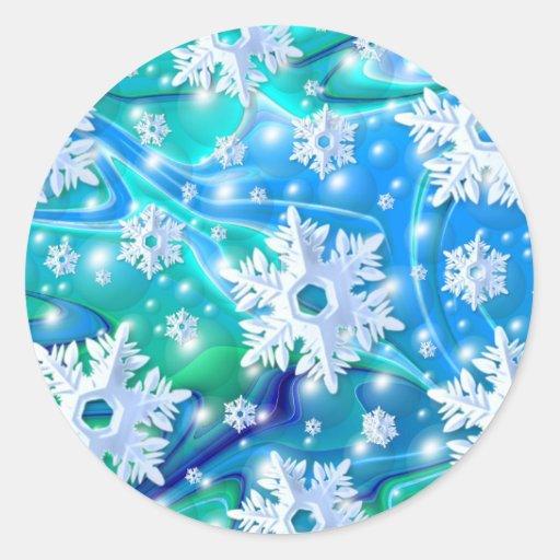 Nieve azul pegatina redonda