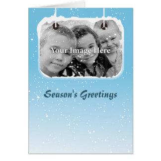Nieve azul personalizada tarjeta de felicitación