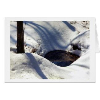 Nieve bien en las maderas tarjeta de felicitación